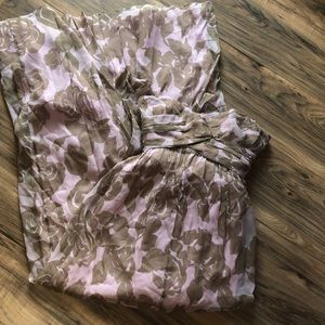 JCrew sz 2 pink and tan floral strapless formal